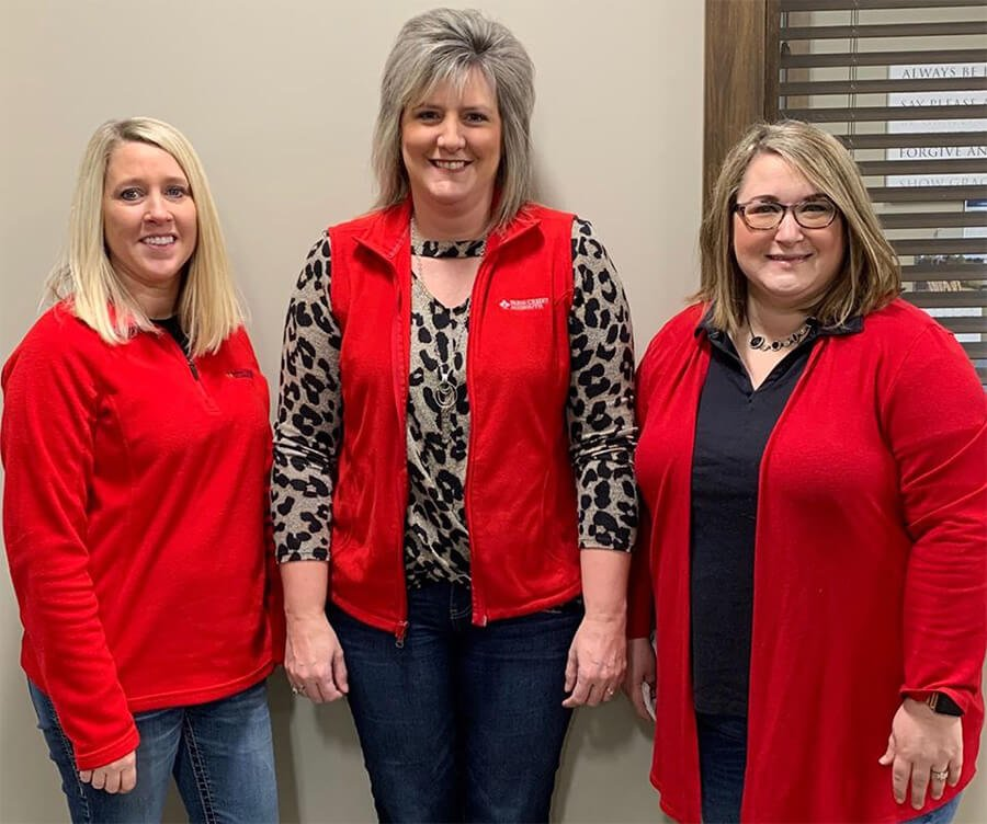Farm Credit Midsouth employees wearing red.
