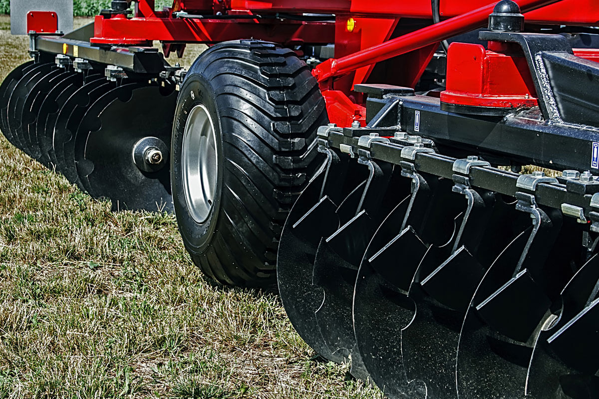 A close up of brand new farm machinery
