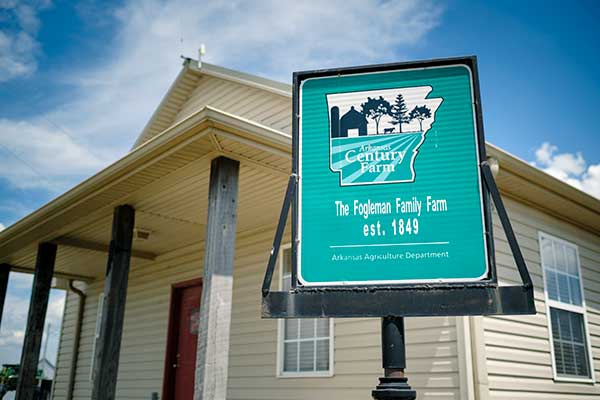 Sign proudly celebrating the Fogleman Family Farm established in 1849.
